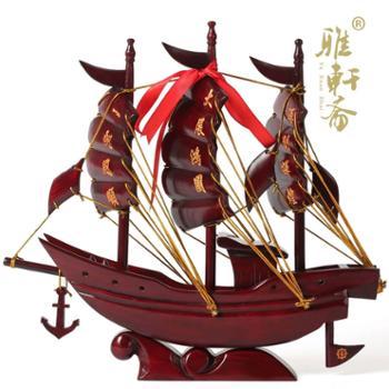 红木 帆船摆件工艺品一帆风顺开业乔迁办公高档商务创意礼品 包邮