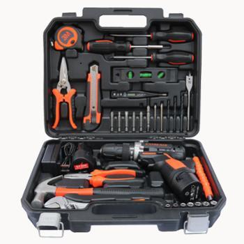 车之秀品工具箱带电钻套组木工维修电工具35件套12V电钻款