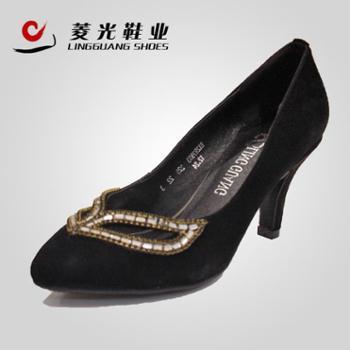 BX2R7933 菱光正品 真皮羊绒中跟女单鞋 婚鞋结婚办公百搭女单鞋