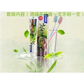 韩国原装进口爱敬2080美白清口气清龄茶牙膏+爱敬2080纤柔软细毛舒适软毛清洁牙刷
