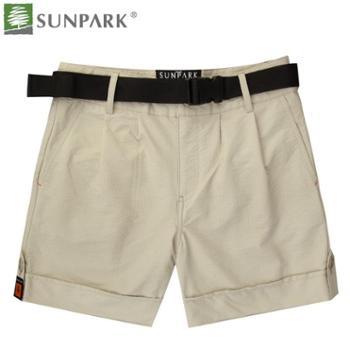 SUNPARK森泊客 女士 户外速干短裤 纯色时尚休闲 配腰带26007