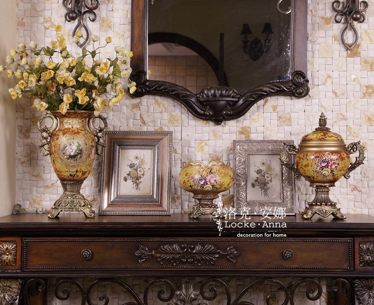 欧式古典宫廷美克美家彩绘陶瓷罐装饰罐
