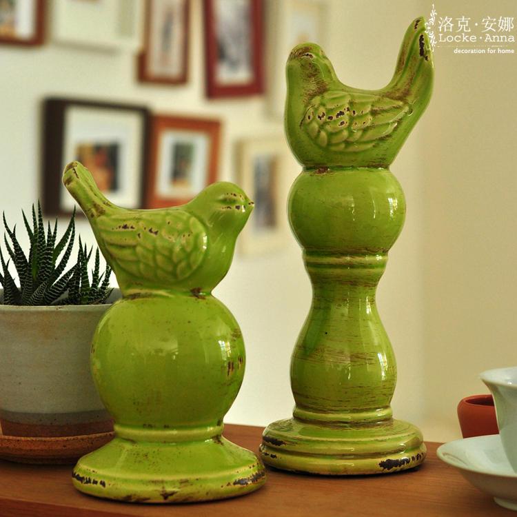 欧式美式乡村复古做旧陶瓷鸟摆件