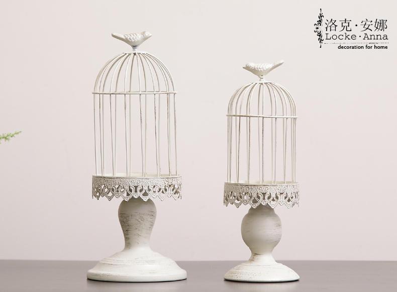 欧式法式复古做旧铁艺小鸟笼摆件创意家居装饰品烛台