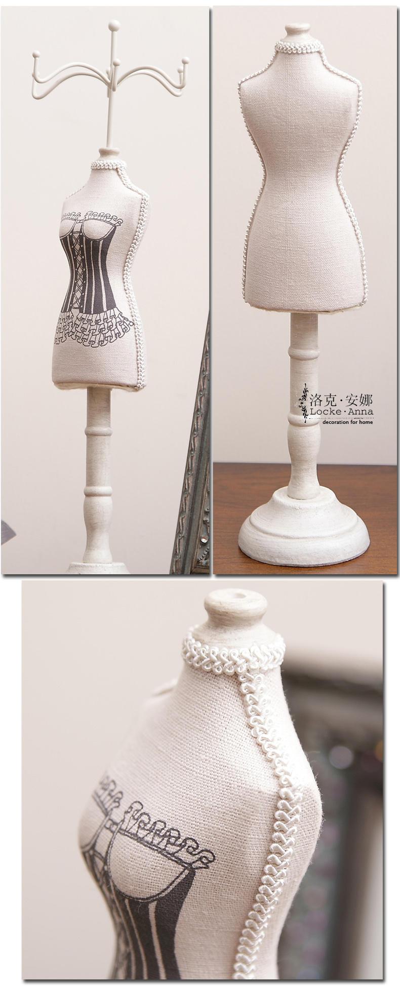 欧式复古木质首饰架人形模特项链耳环架