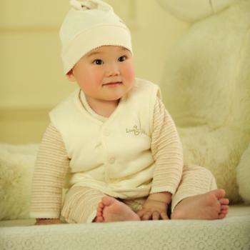 铺棉暖呼呼小背心宝贝妮纯棉小背心宝宝小马夹有机棉新生儿婴儿用品送礼