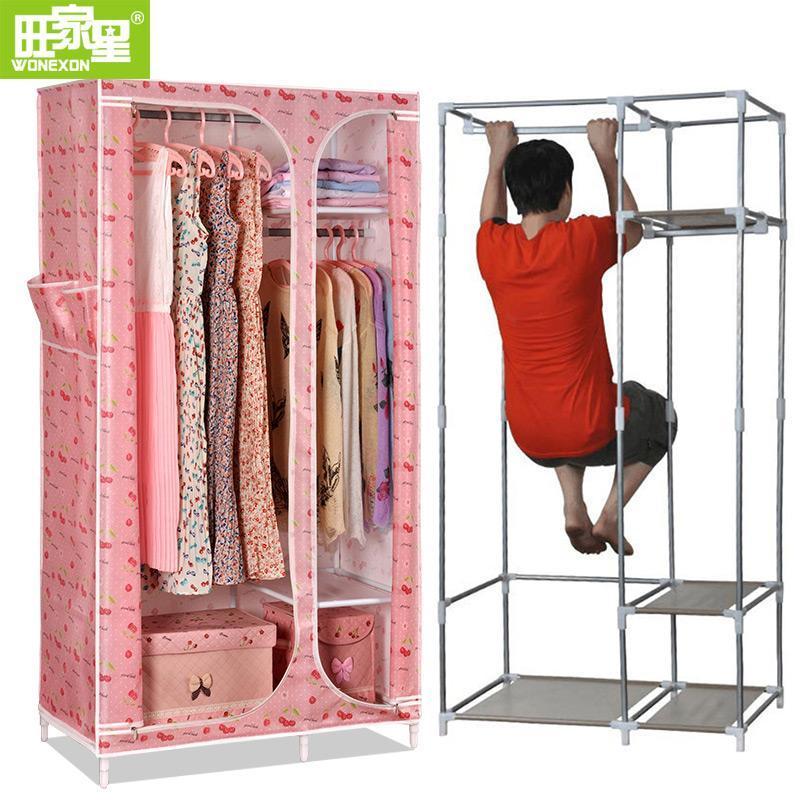 布衣柜 钢管加固加厚 单人小号钢架衣橱组装折叠w