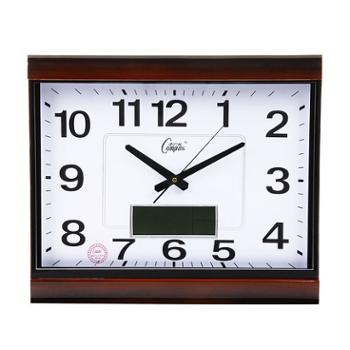 康巴丝石英钟正品包邮丽声机芯静音扫秒液晶日历温度双显示卧室客厅简约现代挂钟钟表