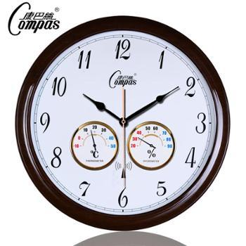 康巴丝仿木制中式钟表时尚简约挂钟时钟地中海风格客厅挂表温湿度静音电波