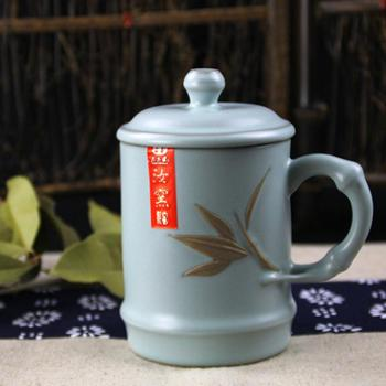 陶立方 陶瓷开片杯带盖个人杯手工杯元本道汝窑茶杯会议汝瓷杯茶具 TF-5288