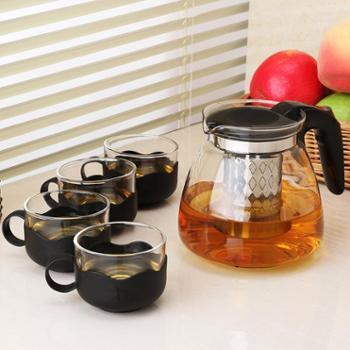 【我爱善融1903】陶立方耐热玻璃茶具五件套防烫整套茶具不锈钢滤网一壶四杯TF-5868-1