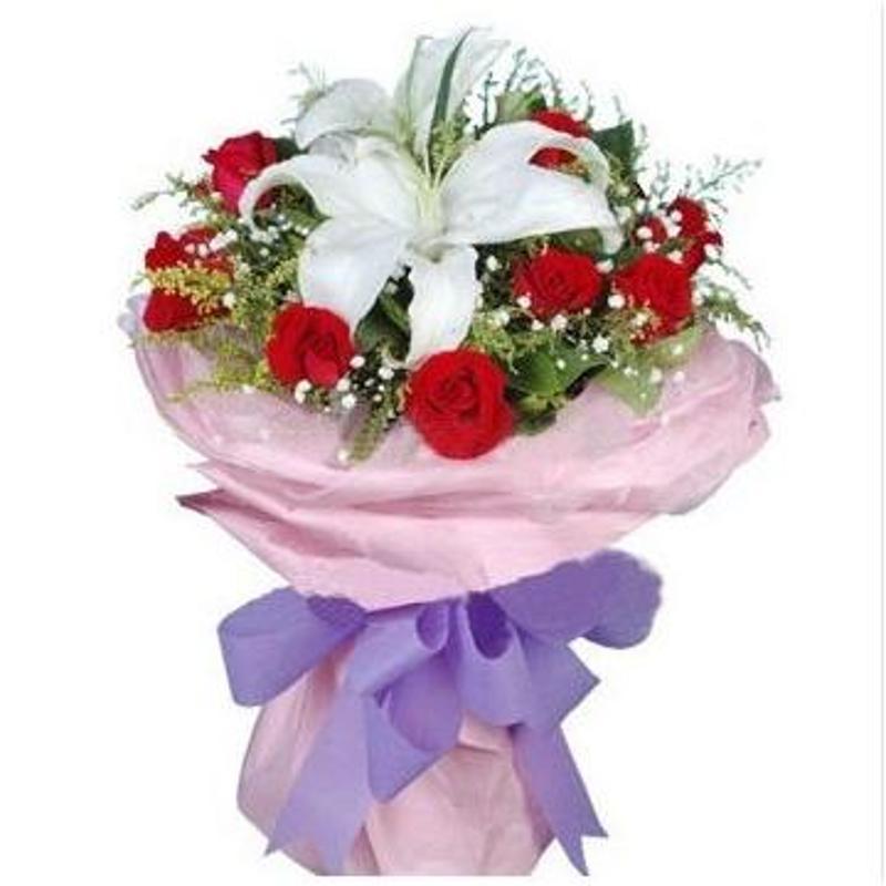 鸿博红玫瑰百合花束资阳鲜花速递全国简阳自贡乐山鲜花店