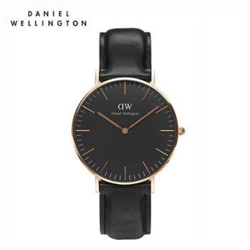 丹尼尔惠灵顿(DanielWellington)DW手表女表36mm黑表盘金色边皮带超薄女士石英手表DW00100139