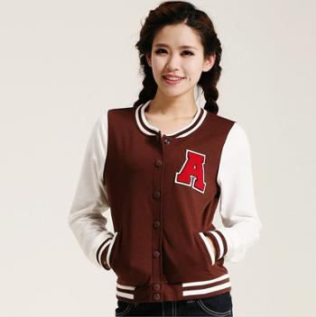 2013女装单件外套 韩版通勤圆领长棒球衫 运动型单排扣上衣