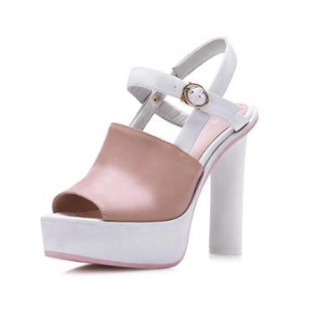 2014新款拼色牛皮鱼嘴女鞋子 粗高跟凉鞋