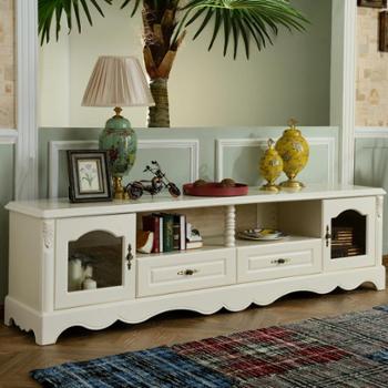 [慧居]小美式乡村风格客厅电视柜白色复古罗马柱精美