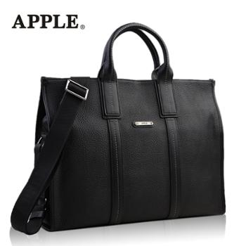 Apple苹果手提包男真皮斜挎包头层牛皮公文包大容量横款单肩包