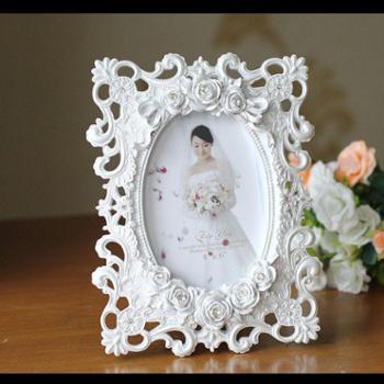 欧式树脂白色6寸相框结婚相框床头柜摆件