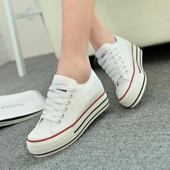 名将新款韩版厚底透气帆布鞋低帮内增高白色女鞋休闲舒适松糕鞋包邮6066