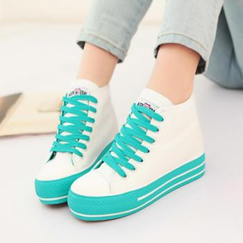 名将 2015秋季新款韩版厚底潮松糕鞋 内增高高帮女式帆布鞋女鞋 包邮M6065