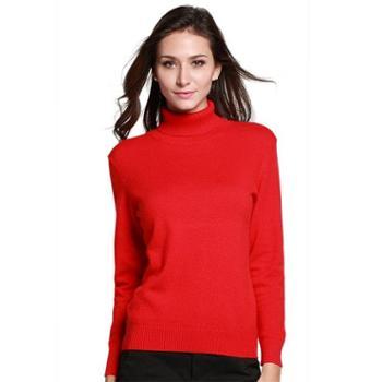 衣锦牧园羊绒衫女式针织长袖高领修身毛衣打底衫多色针织衫