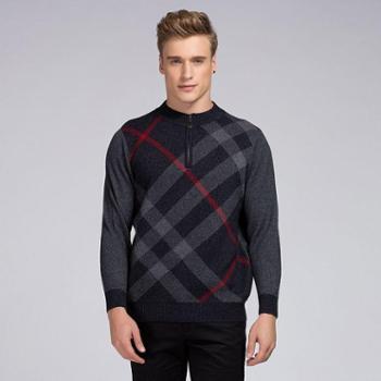 衣锦牧园新款羊绒衫男士男装加厚毛衣商务休闲半高拉链羊绒衫针织衫毛衣