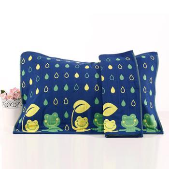 永亮毛巾2条装小青蛙纯棉纱布枕巾可爱2141