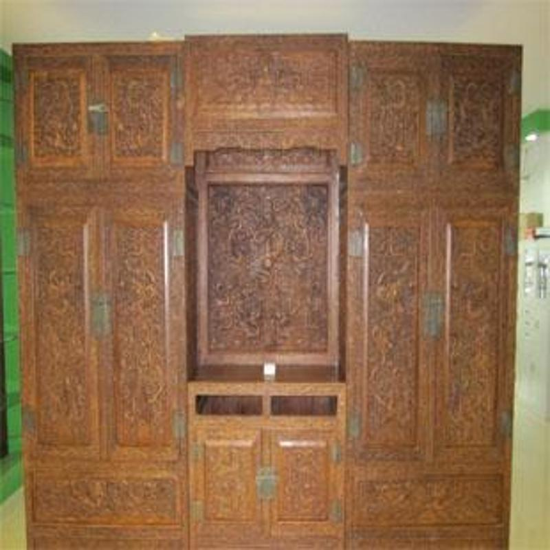 红木家具 非洲黄花梨木雕龙顶箱柜