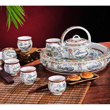 红鑫景德镇陶瓷器8头双层茶具套装 带盖茶壶 杯 锦上添花(白)