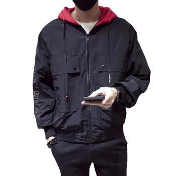 点就男士外套秋冬季2019新款休闲夹克韩版潮流修身帅气男装连帽外衣服DS26