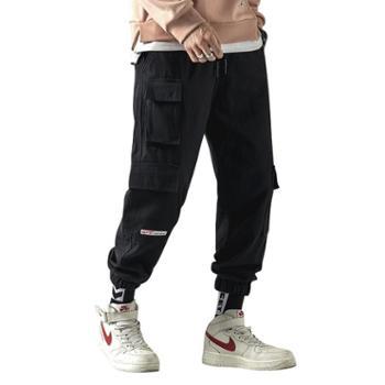 点就 春季青年男士运动休闲裤加大码长裤松紧腰男裤子多口袋宽松工装裤DJ-DS353