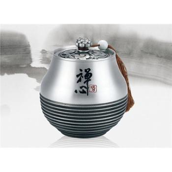 马来西亚纯锡罐禅心茶叶罐大号锡器工艺礼品茶叶罐