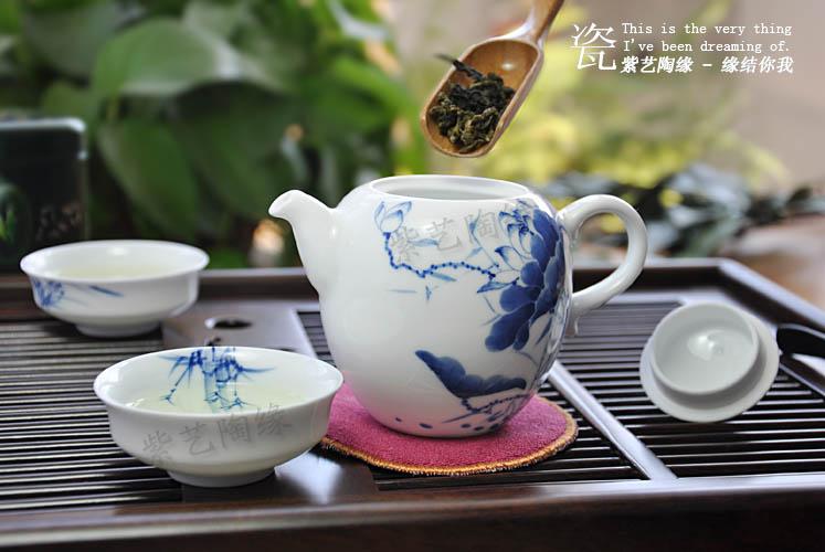 青花瓷茶具 泡茶壶 陶瓷 过滤茶叶手绘沏茶壶250ml