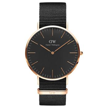 Daniel Wellington DW女表 36mm黑盘金边尼龙带 DW00100150