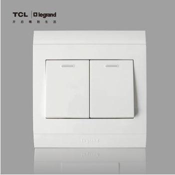 TCL罗格朗开关插座 美仑山系列带荧光二开单控 二级单控墙壁开关