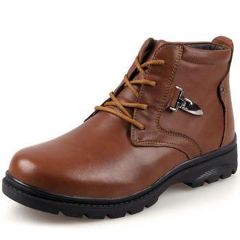 伶羊秋冬新品头层牛皮棉靴男士户外休闲工装靴马丁靴雪地靴