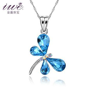 iwe 925银项链 水晶项链 女 短款 韩国锁骨链 蜻蜓吊坠时尚饰品