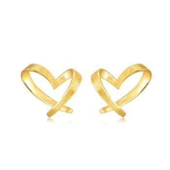 【628龙支付】周生生 黄金足金心形耳钉 68738e 计价 1.52克
