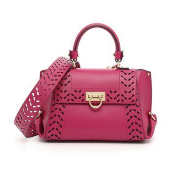 Ferragamo菲拉格慕女式紫红色牛皮手提单肩两用包21G341660395