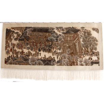 天发 100% 纯羊毛手工风景人物客厅/清明上河图/ 挂毯壁毯/定做