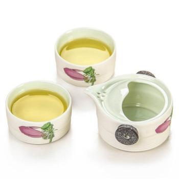 金镶玉爱莲说一壶两杯套组雪花釉陶瓷茶壶茶杯旅行茶具整套