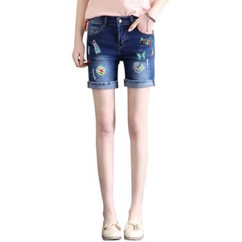 女装破洞翻边新款夏季牛仔短裤刺绣个性显瘦修身牛仔热裤子016
