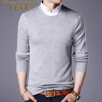 布朗华菲 新款男装男士长袖T恤假两件衬衫领青年时尚韩版棉T恤针织衫5505