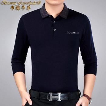 【 12.12搜实惠】布朗华菲 新款男士羊毛长袖厚T恤翻领格子中老年针织衫毛衣6825