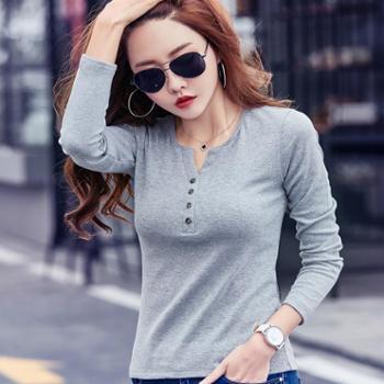 新款女士长袖T恤韩版修身百搭纯色V领打底衫1708
