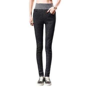 新款女装女士牛仔裤松紧高腰弹力小脚裤修身显瘦牛仔长裤117