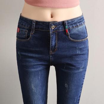 新款高弹力刺绣牛仔裤女韩版显瘦修身九分裤铅笔小脚裤子5501