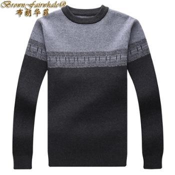 布朗华菲新款男士羊毛羊绒衫撞色提花圆领中青年保暖毛衣针织衫9107