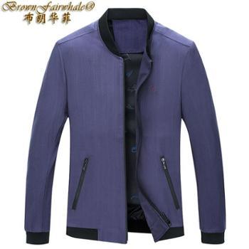 布朗华菲新款男士夹克棒球领薄款纯色修身外衣外套茄克衫1921