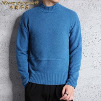 布朗华菲 新款男士长袖毛衣韩版套头休闲纯色针织衫A06